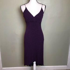 Vintage City Triangles Purple Sparkly Dress Size M